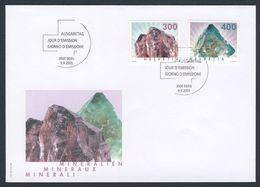 Switzerland Schweiz Suisse 2003 FDC + Mi 1844 /5 - Rutilated Quartz / Rutilquarz + Fluorite / Fluorit - Minerals - Mineralen