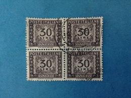 1961 ITALIA FRANCOBOLLI USATI STAMPS USED QUARTINA - SEGNATASSE 30 LIRE FILIGRANA STELLE - 6. 1946-.. Repubblica