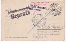 Comité Des Rapatriés Zurich  Ostiches Lez Ath 20 10 1916 Poste De Campagne - Prisoners