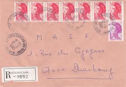 Env Reco Affr Y&T 2184 + 2319 X 7 Obl NIEDERBRONN LES BAINS Du 12.8.1985 Adressée à Strasbourg - Postmark Collection (Covers)