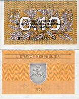 Lithuania 1991 - 0,10 Talonas - Pick 29b UNC - Lituanie