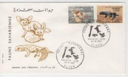 FDC  ALGERIA    Fennec,  Lizard     /  ALGERIE    Fennec, Saurien   1967 - Briefmarken