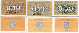 Lithuania 1991 Set 0,10+0,20+0,50 Talonas - Pick 29b-31b UNC - Lithuania