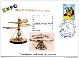 DZ 2014 FDC World Expo Milan 2015 Milano Expo - Da Vinci De Vinci Italia Italy Exposition Helicopter Hélicoptère - 2015 – Milan (Italy)