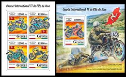 GUINEA 2018 - Isle Of Man TT Race. M/S + S/S. Official Issue - Motorbikes