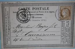 1874      -       CERES             15 C  BISTRE             BEZIERS        POUR            CARCASSONNE - Entiers Postaux
