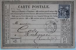 1877     -       SAGE             15 C  GRIS      QUIMPER   à  NANTES     CONVOYEUR    POUR   HERBIGNAC - Entiers Postaux