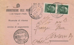S. Giuseppe Vesuviano. 1932. Annullo Frazionario ( 40 - 101) Su Ricevuta Di Ritorno - 1900-44 Vittorio Emanuele III