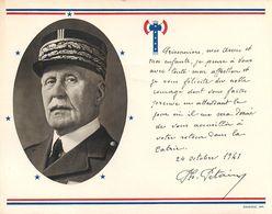 MARECHAL PETAIN - MESSAGE à L'INTENTION DES PRISONNIERS FRANCAIS - PORTRAIT - FRANCISQUE - CARTE FLYERS - 1941 - - Historical Documents