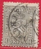 Norvège N°11 1s Gris-noir 1867 O - Norvège