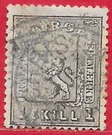 Norvège N°11 1s Gris-noir (CHRISTIANIA) 1867 O - Norvège