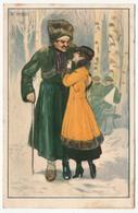 CPA Illustrateur MAUZAN - Couple, Militaire Blessé - Mauzan, L.A.