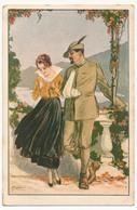 CPA Illustrateur MAUZAN - Couple, Militaire Blessé, Bras En écharpe. - Mauzan, L.A.