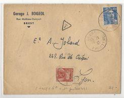 Lettre (1947) De Brest à Lyon - Affranchie à 4,50 Frs Et Taxée à 3 Frs - Postage Due