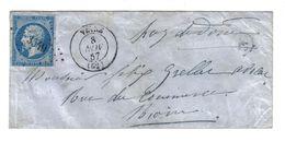 PUY DE DOME PC 3549 /YT14A C15 VEYRE 8 NOV 57 Br E (n.i.)  LETTRE SANS TEXTE POUR RIOM - Marcophilie (Lettres)