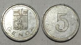TOKEN JETON GETTONE CALCIO GENOA 5 LIRE ALLUMINIO - Monedas/ De Necesidad