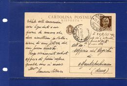 ##(DAN183)-21-9-1933-Sarteano (Siena)-- Cartolina Postale  Risposta  Cent.30 Per Montepulciano(Siena) - Storia Postale