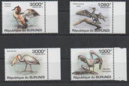 BURUNDI , 2011, MNH, BIRDS, WATER BIRDS, FISH,PELICANS, STORKS,4v - Storks & Long-legged Wading Birds