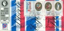 059 Carte Officielle Exposition Internationale Exhibition Philatelia 1989 France FDC Revolution Française Bande - Esposizioni Filateliche