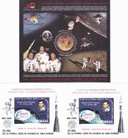 50% FACE VALUE,SPACE 3 BLOCKS,2009,X2 2006 OVERPRINT GOLD& AG,MNH,ROMANIA. - Spazio