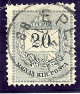 HUNGARY 1881 Numeral And Envelope 20 Kr. Perforated 13 Very Fine Used.  Michel 25B - Used Stamps