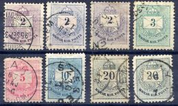 HUNGARY 1881 Numeral And Envelope Watermarked Set With Shades Used.  Michel 21-25A - Used Stamps