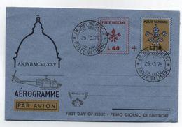 Vatican HELICOPTER FDC AEROGRAMME 1975 - Hubschrauber