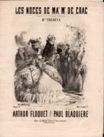 Les Noces De Ma'm De Crac.  Chansonnettes. Partition Ancienne, Grand  Format, Couverture Illustrée Darjoy - Partituren