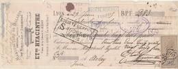 Lettre Change 29/6/1885 Hyacinthe Meubles Jeux Billards LYON Rhône à Hugonnet  Arlay Jura Timbre Fiscal - Lettres De Change