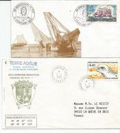Lot De 2  ENVELLOPES /  Terres Australes / Timbre / Adelie  / - Covers & Documents
