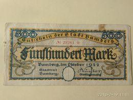 Bamberg 500 Mark 1922 - [11] Emissioni Locali