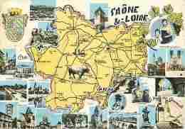 71 - Saone Et Loire - Multivues - Blasons - Carte Géographique - Voir Scans Recto-Verso - France