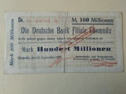 Chemnitz 100 Milioni Mark 1923 - [11] Emissioni Locali