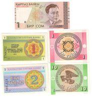 Kazakhstan & Kirghizistan Lot 5 Banknotes UNC  .C. - Kazakhstan