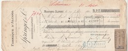Lettre Change 29/7/1892 Springer Alcool MAISONS ALFORT à Savariaud St Etienne De Lisse Gironde Timbre Fiscal - Lettres De Change