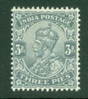 India: 1911/22   KGV      SG154    3p    Slate       MH - India (...-1947)