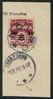 1941 Faroe Islands Provisional Overprint 50 Ore/ 5 Ore On Parcelcard Piece Thorshavn Nolso UDS - Faroe Islands