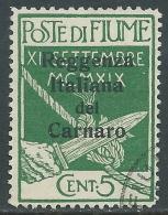 1920 FIUME USATO REGGENZA ITALIANA DEL CARNARO 5 CENT - I33-6 - Occupation 1ère Guerre Mondiale