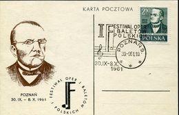 31419 Poland, Special Card And Postmark Poznan 1961  Ballet Festival And Oper Moniuszko - Musique
