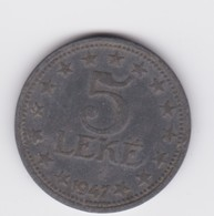 5 Leke Albanie 1947 Zinc TTB - Albania