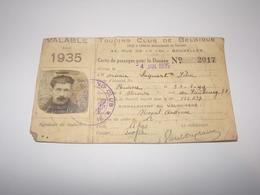 Touring Club De Belgique Carte De Passage Pour La Douane De 1935 Pour Habitant De Rienne Gedinne. - Documents Historiques
