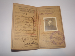 Carte Travailleur Frontalier Belgique France Pour Habitant De Rienne Gedinne En 1935. - Documents Historiques