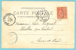 Cachet Convoyeur LIGNE Auch à Toulouse En 1902) Pour Etiolles - Marcophilie (Lettres)