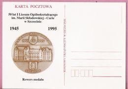 Poland 1995,  Postcard Szczecin, (3),  M. Curie,  Science  Nobel Prize Prix, Chemistry, Physics, Medal - Chemie