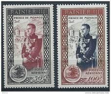 "Monaco Aerien YT 49 & 50 (PA) "" Avènement Prince Rainier III "" 1950 Neuf** - Poste Aérienne"