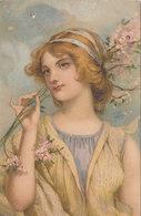 Cpa 2 Scans Jolie Femme Oeuillets  Fleur Type Baroque Italie - Frauen