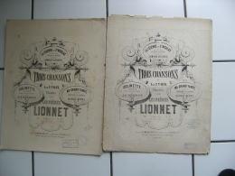 Lot De 2 Ancienne Partition Musique  Les Freres Lionet 3 Chansons  Legende Saint Nicolas - Partitions Musicales Anciennes