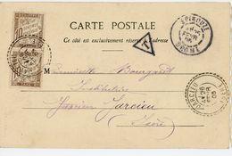ISERE CP 1905 JARCIEU FACTEUR BOITIER T84 SUR TAXE DUVAL ORIGINE EPINOUZE DROME - Postmark Collection (Covers)