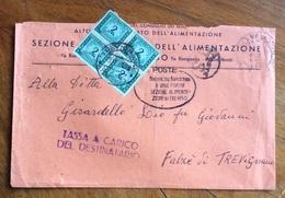 SEGNATASSE L. 2 QUARTINA SU BUSTA TASSA A CARICO REVISO 18/11/48 OVALE FRANCHIGIA DELLA R.S.I. SCARPELLATO - 6. 1946-.. Repubblica