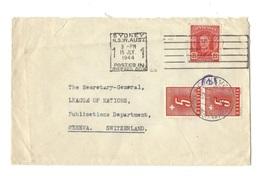 Brief Aus Sydney (Australia) Vom 15 JLY 1944 Porto Nr.54 Mit O GENÈVE 8.III.42 SOCIETÉ DES NATIONS - Portomarken